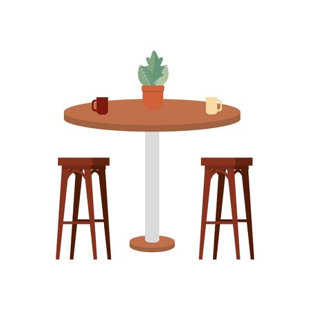 wooden chairs with table and houseplant vector illustration design Foto de archivo - 133966427