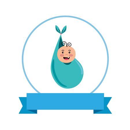 baby shower card with little newborn in bag character vector illustration design Stock Illustratie