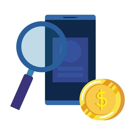 coins money dollars and smartphone with magnifying glass vector illustration