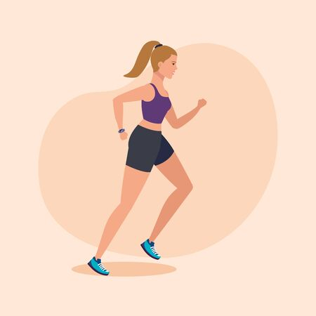 fitness woman running to practice sport over pink background, vector illustration