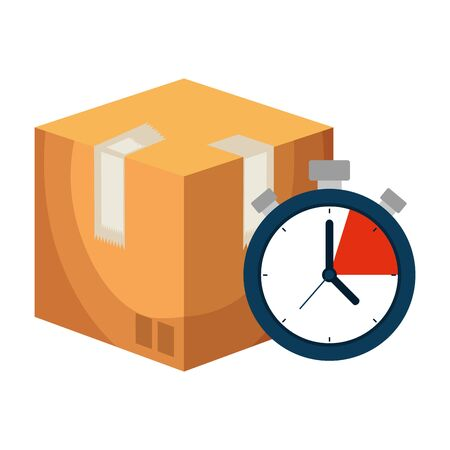 box carton packing with chronometer delivery service vector illustration design Illusztráció