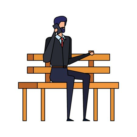 businessman calling with smartphone seated in the park chair vector illustration Ilustracja