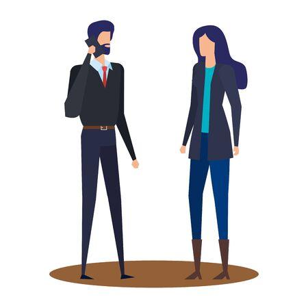 elegant young business couple using smartphone vector illustration design