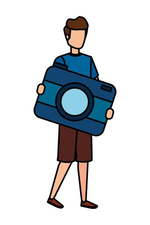 young man lifting camera photographic character vector illustration design
