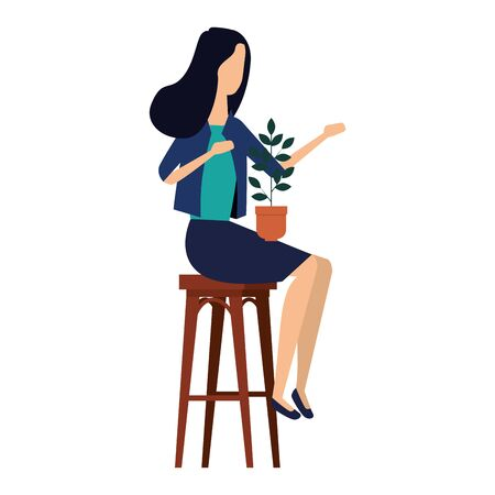 elegant businesswoman seated in bench with houseplant vector illustration design