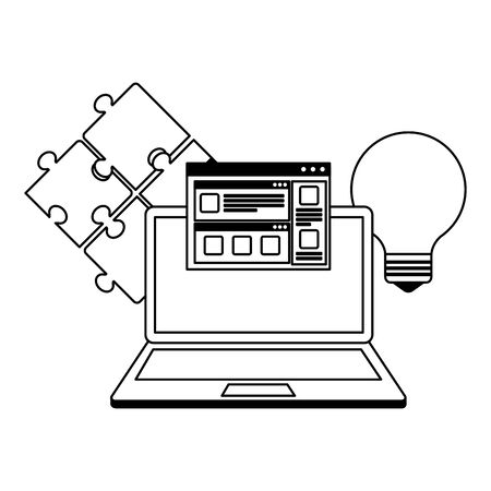 laptop computer with success icons vector illustration design