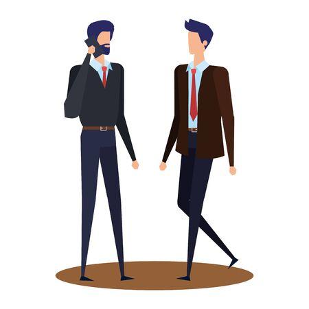 elegant young businessmen using smartphone vector illustration design