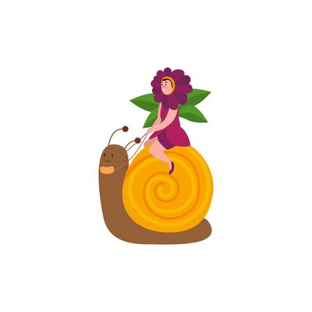 woman disguised of flower sitting in snail vector illustration design Illustration