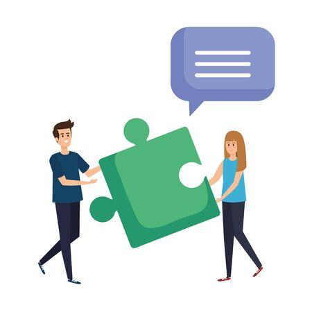 couple lifting puzzle game piece vector illustration design Stock fotó - 133989688