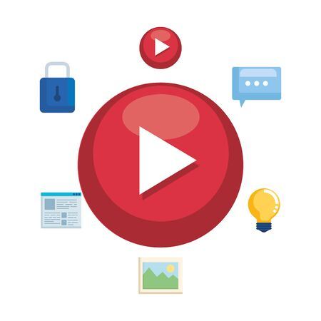 media player button and social marketing vector illustration design 일러스트