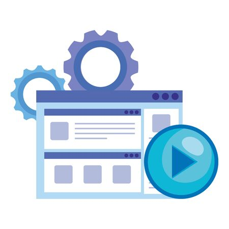 social media marketing with web page and icons vector illustration design