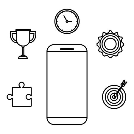smartphone technology with business icons vector illustration design 일러스트