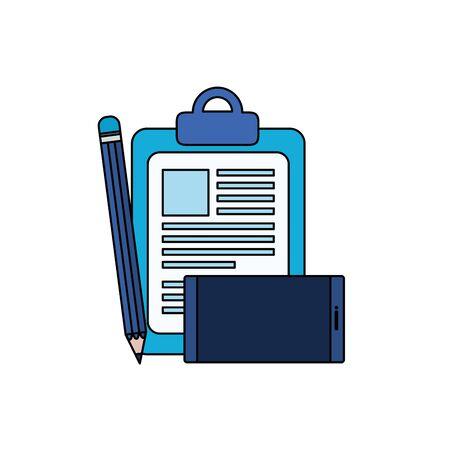 checklist clipboard with smartphone device vector illustration design
