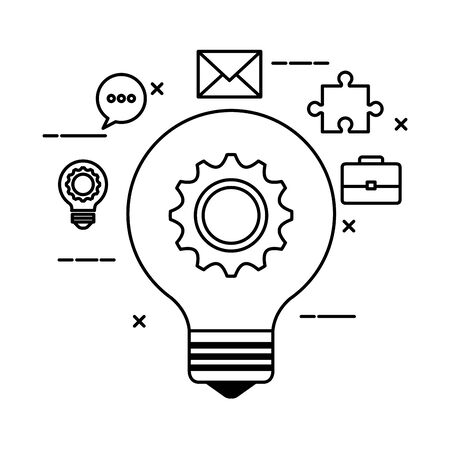 bulb light with gear and set icons vector illustration design Illustration