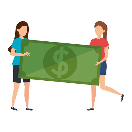 young women lifting bill money dollar characters vector illustration design