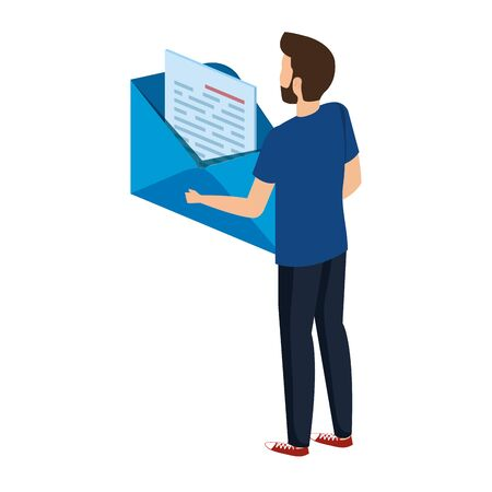 young man lifting envelope mail send vector illustration design Stock fotó - 133981761