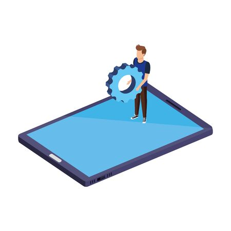 young man lifting gear in smartphone vector illustration design Stock fotó - 134026935