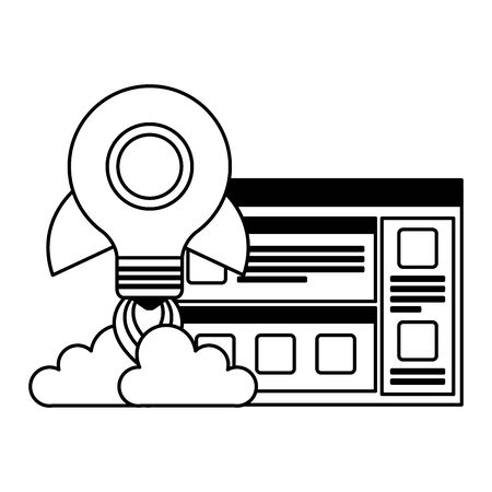 bulb light rocket start up with template webpage vector illustration design Ilustração
