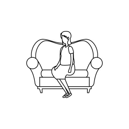 cute grandmother in the sofa character icon vector illustration design