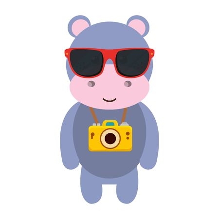 cute hippo with summer sunglasses and photographic camera vector illustration