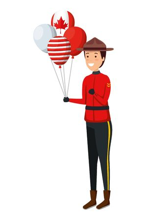 balloons helium with canadian flag and ranger vector illustration design Ilustrace