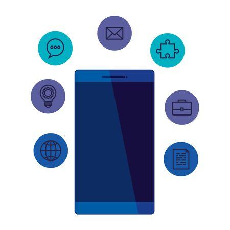 smartphone device with social media icons vector illustration design Standard-Bild - 133966040