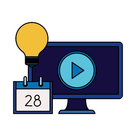 desktop computer with bulb and calendar vector illustration design 向量圖像