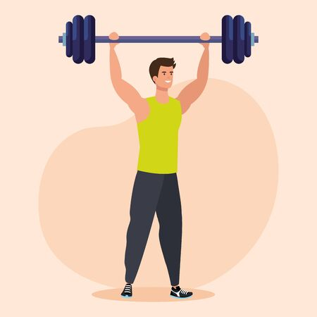 fitness man with wight to exercise activity over pink background, vector illustration