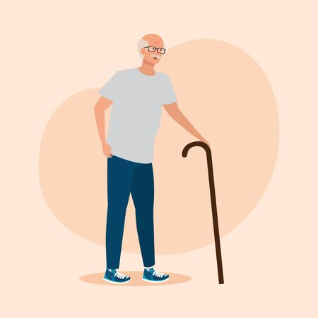 old man with shirt and jean casual clothes over pink background, vector illustration