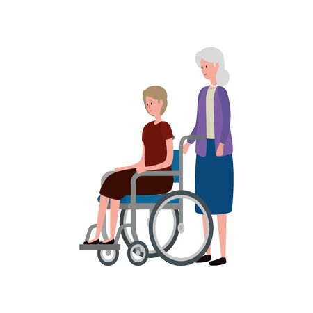 cute grandmother with daughter in wheelchair vector illustration design Ilustracja