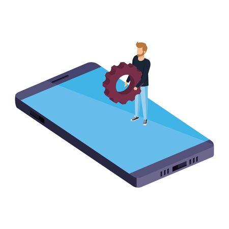 young man lifting gear in smartphone vector illustration design Stock fotó - 134027346