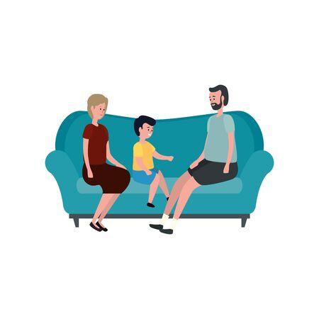 cute grandparents couple with grandson in the sofa vector illustration design