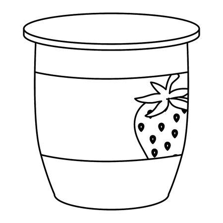 strawberry fruit yogurt fresh icon vector illustration design