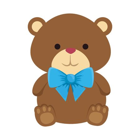 cutte little bear teddy with bowtie vector illustration design