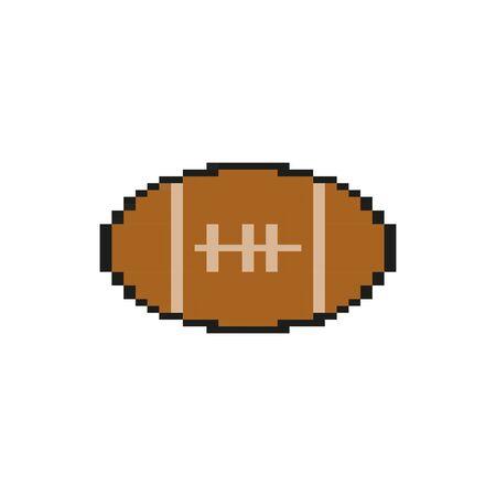 Balón de fútbol americano 8 bits diseño de ilustración de vector de icono de estilo pixelado Ilustración de vector