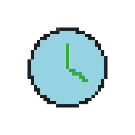 time clock 8 bits pixelated style icon vector illustration design Ilustração