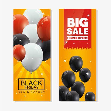 set poster of black friday and decoration vector illustration design