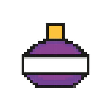 Botella de poción 8 bits diseño de ilustración de vector de icono de estilo pixelado