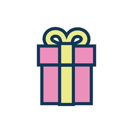 gift box child toy fill style icon vector illustration design  イラスト・ベクター素材