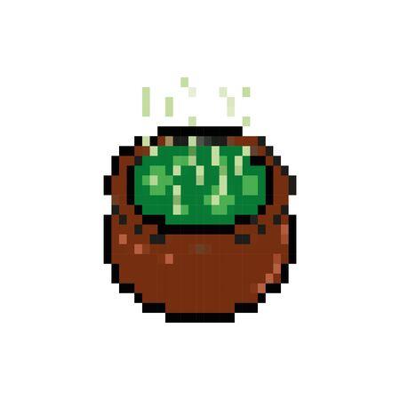 cauldron 8 bits pixelated style icon vector illustration design 向量圖像