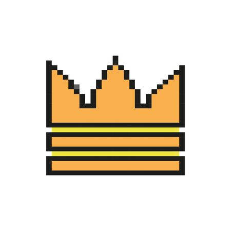 king crown 8 bits pixelated style icon vector illustration design