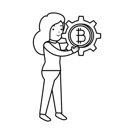 businesswoman lifting bitcoin icon vector illustration design