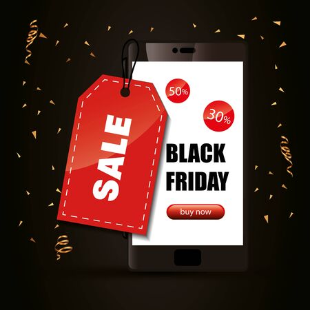 black friday poster and smartphone with label hanging vector illustration design 일러스트