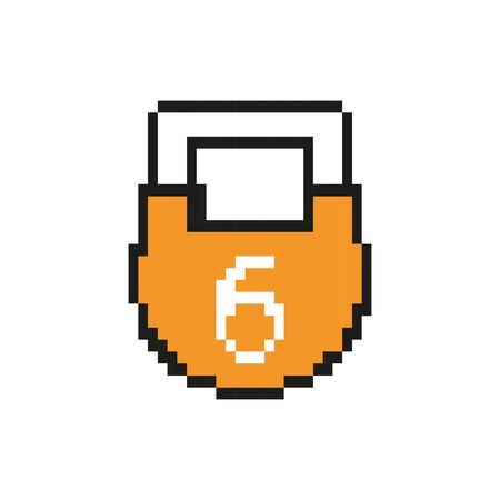 padlock 8 bits pixelated style icon vector illustration design 向量圖像