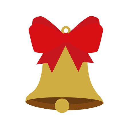 bell christmas decoration with bow ribbon vector illustration design 向量圖像