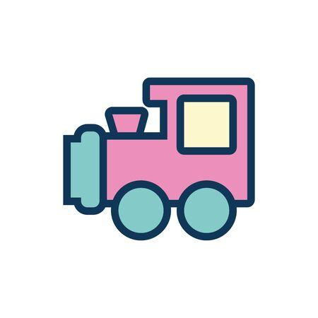 cute train child toy fill style icon vector illustration design