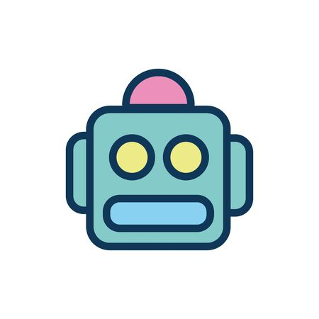 robot head child toy fill style icon vector illustration design