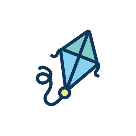 cute kite flying child toy fill style icon vector illustration design