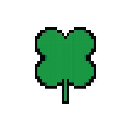clover leaf 8 bits pixelated style icon vector illustration design Illustration