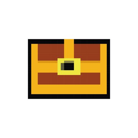 treasure chest 8 bits pixelated style icon vector illustration design